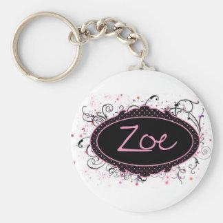 Zoe Nameplate Basic Round Button Key Ring