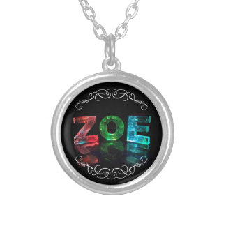 Zoe  - The Name Zoe in Photograph)3D Lights ( Silver Plated Necklace