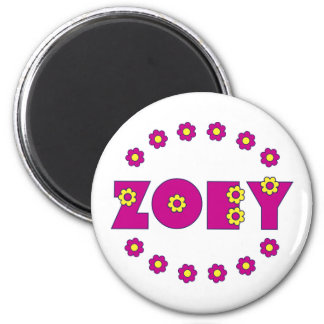 Zoey in Flores Pink 6 Cm Round Magnet