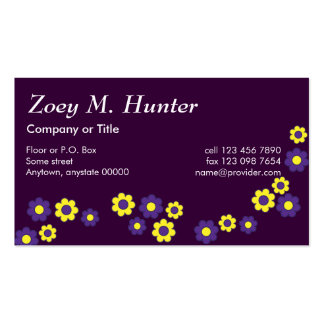 Zoey in Flores Purple Pack Of Standard Business Cards