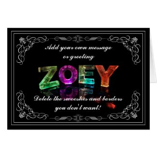 Zoey - Name in Lights greeting card (Photo)