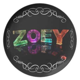 Zoey - The Name Zoey in 3D Lights (Photograph) Party Plate