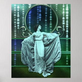 Zohara: Art Deco Woman in Aqua & Green Poster