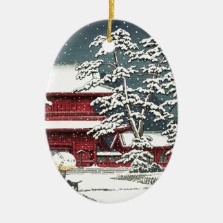 """Zojoji in Snow"" by Kawase Hasui 川瀬 巴水 Christmas Ornament"
