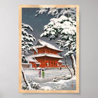 Zojoji Temple in Snow Tsuchiya Koitsu winter scene Poster