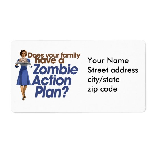 Zombie Action Plan Shipping Label