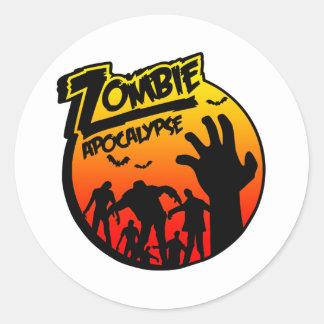 zombie apocalypse round sticker