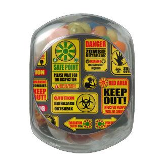 Zombie Apocalypse Signs & Billboards Glass Candy Jars