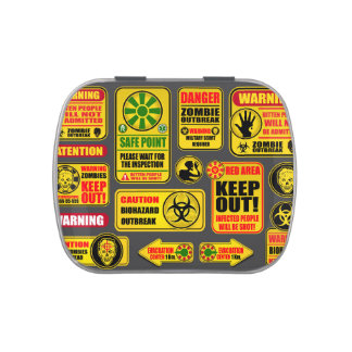 Zombie Apocalypse Signs & Billboards Jelly Belly Candy Tin