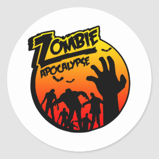 zombie apocalypse round stickers