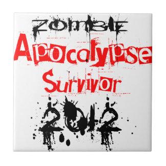 Zombie Apocalypse Survivor 2012 Small Square Tile