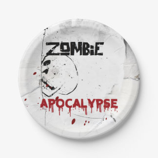 Zombie apocalypse theme party paper plate