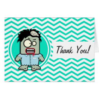 Zombie; Aqua Green Chevron Greeting Cards