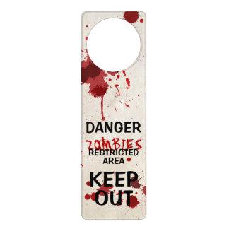 Zombie Area Funny Blood Spattered Door Hanger