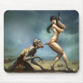 zombie attack with hot girl mouse pad