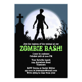 Zombie Bash Halloween Party Personalized Invitation