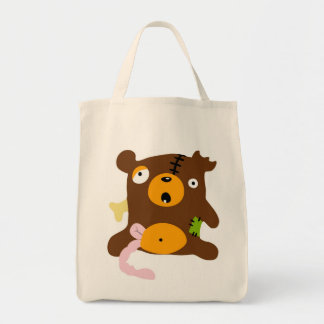 Zombie bear grocery tote bag