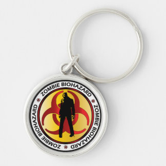 Zombie Biohazard Waste Silver-Colored Round Key Ring