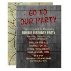 Zombie Birthday Party Undead Apocalypse Blood Text Card