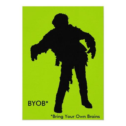 """Zombie Black Silhouette 5"""" X 7"""" Invitation Card"""