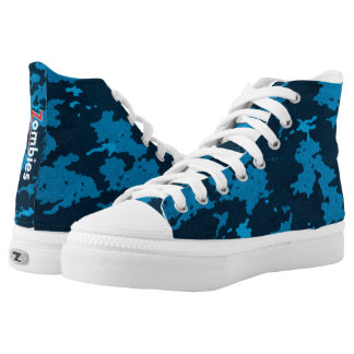 Zombie Blue Camouflage High Tops Printed Shoes