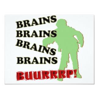 Zombie Brains Brains Brains Burp! 11 Cm X 14 Cm Invitation Card