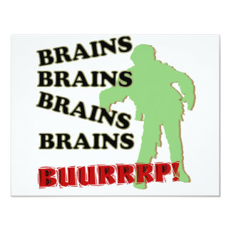 Zombie Brains Brains Brains Burp! Card