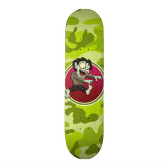 Zombie; bright green camo, camouflage skateboard deck