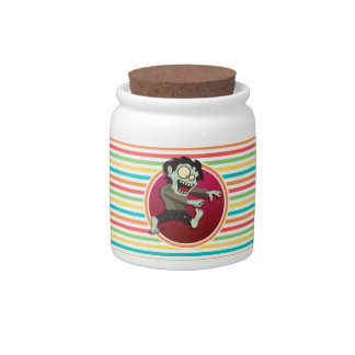 Zombie; Bright Rainbow Stripes Candy Jar