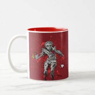 Zombie Broken Heart and Flower Two-Tone Coffee Mug