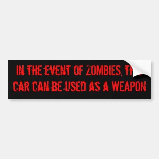 Zombie Car Disclaimer Bumper Stickers