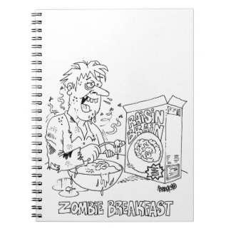 Zombie Cartoon Spiral Bound Eighty Page Notebook