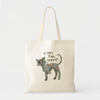 Zombie Cat, I Can Has Brains tote / candy bag