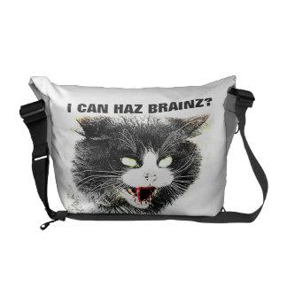 Zombie Cat I Can Haz Brainz Messenger Bag