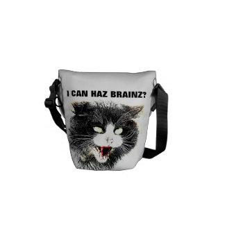 Zombie Cat I Can Haz Brainz Mini Messenger Bag