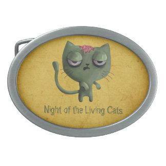 Zombie Cat Oval Belt Buckle
