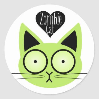 Zombie Cat Round Sticker