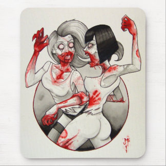 """Zombie Catfight!"" Mouse Mat"