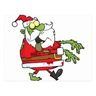 Zombie Christmas Santa funny Postcard