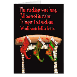 zombie christmas stockings greeting card