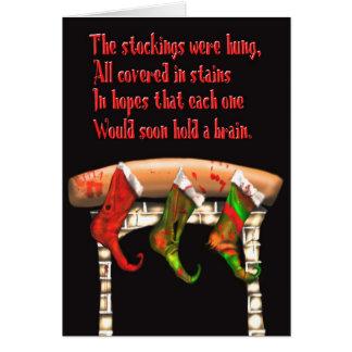 zombie christmas stockings greeting card