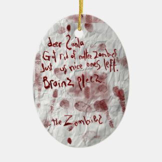 zombie christmas wish ceramic oval decoration