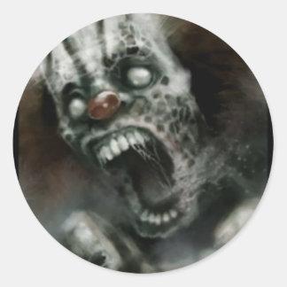 zombie clown classic round sticker