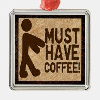 Zombie Coffee Silver-Colored Square Decoration