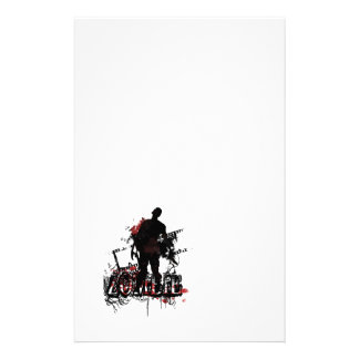 Zombie design in black and red stationery