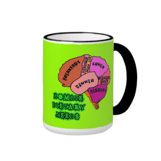 ZOMBIE DIETARY NEEDS: Brains! Tshirts Ringer Mug