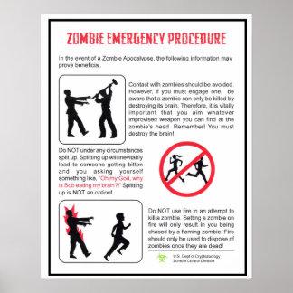 Zombie Emergency Procedure Poster