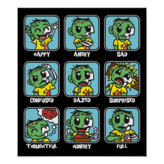 Zombie Emoticons Poster