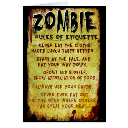 Zombie Etiquette Greeting Cards