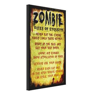 Zombie Etiquette Stretched Canvas Prints